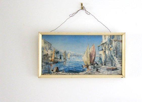 Mid century 1950s Italian Harbour fishing boat scene by evaelena