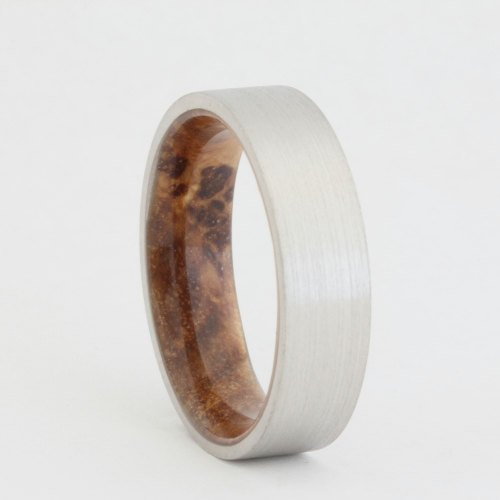 Palladium Wedding Band with Black Ash Sleeve | Wantcy