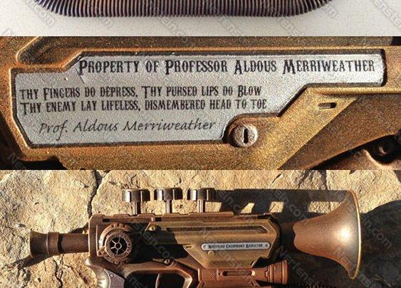 Steampunk trumpet pistol mod by Prof. Aldous Merriweather and Nerfenstein