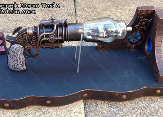 Steampunk Tesla prop pistol with  Nautilus inspired display stand by artist Nerfenstein