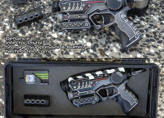 SyFy Defiance Infector pistol Nerf mod and storage case by Nerfenstein