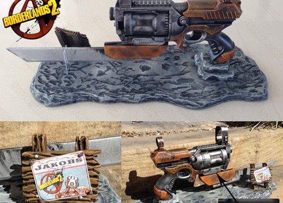 Borderlands Jakobs Law pistol variant prop and display by prop maker / artist Nerfenstein