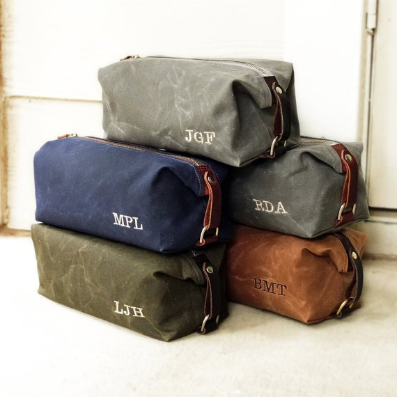 Personalized Men's Toiletry Bags, Groomsmen Gift, Waxed Cotton Canvas and Leather