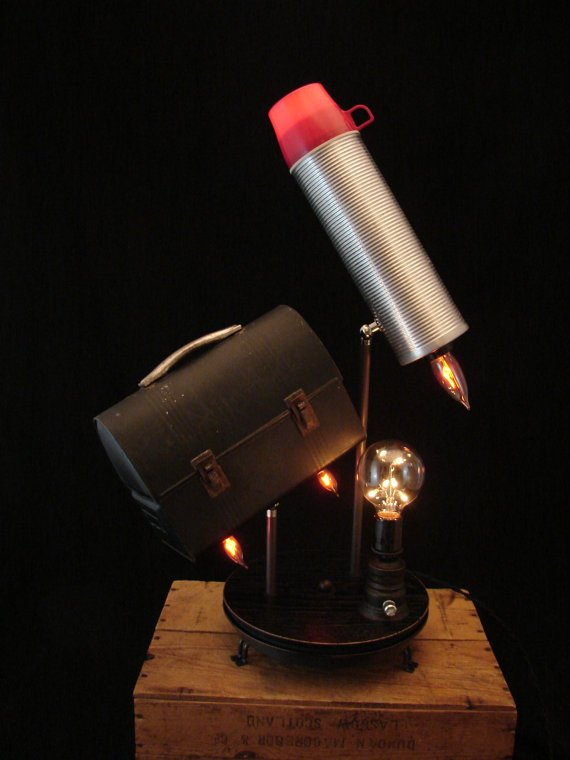 Table Lamp  Upcycled Vintage Thermos and Lunch by BenclifDesigns