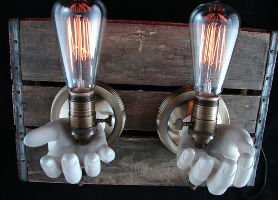 Upcycled Mannequin Hands Wall Lighting Sconce by BenclifDesigns