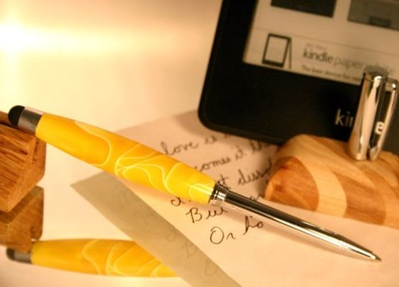 Telescoping Stylus Pen in handcrafted yellow by Hope & Grace Pens