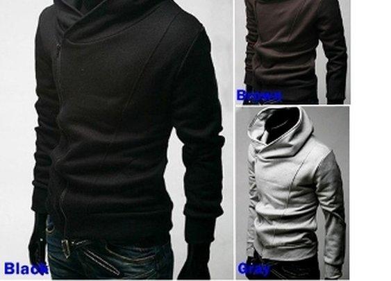men double zipper high collar hoodie