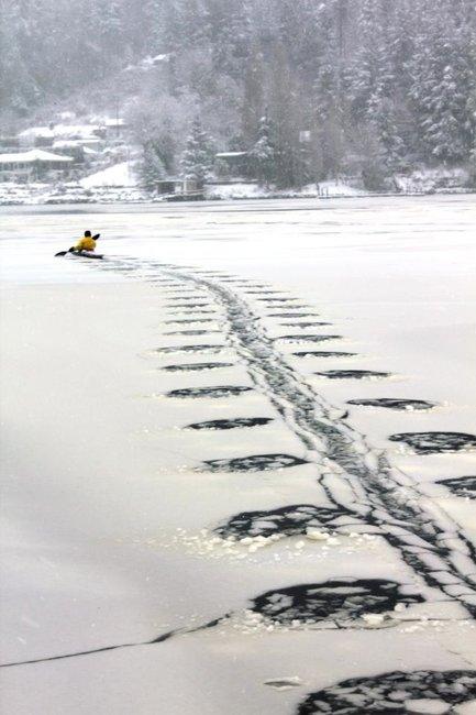 Kayaking through the ice