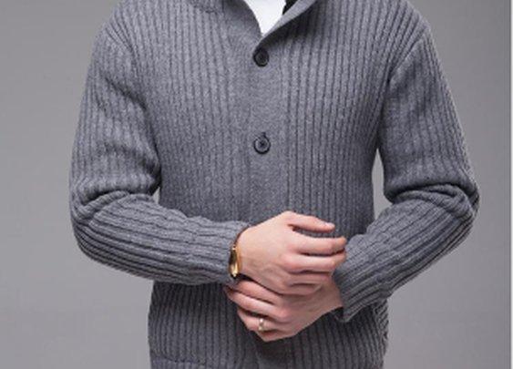 Men's Ribbed Cardigan with Inner Fur