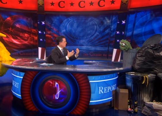 Big Bird and Oscar Go Head-to-Head on Colbert