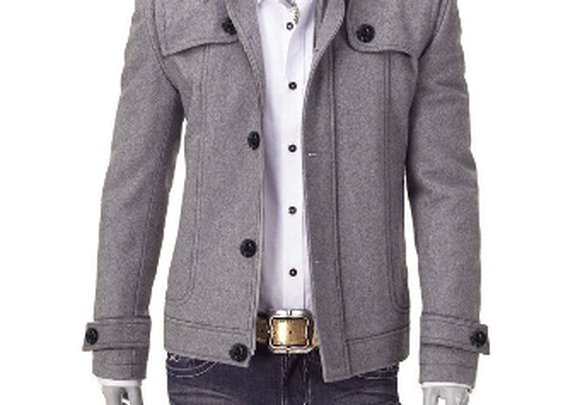 Men's Woolen Jacket with Removable Fur Collar