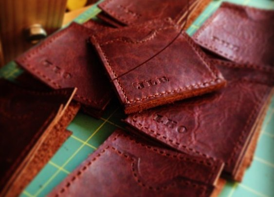 Cooking some handsome handmade Slim Leather Wallets today :)