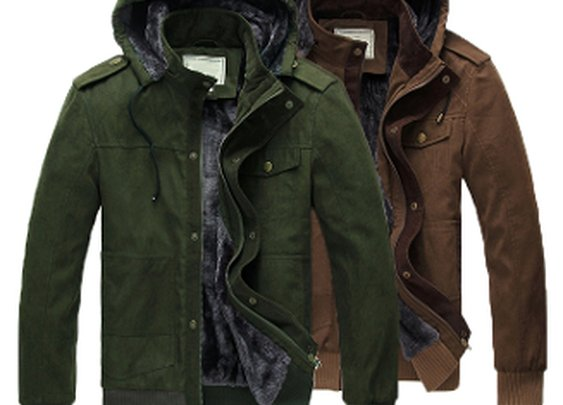 Men's Hooded Jacket with Inner Fur Lining