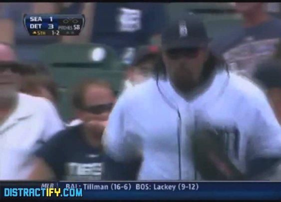 Baseball Player Steals Nacho from Fan