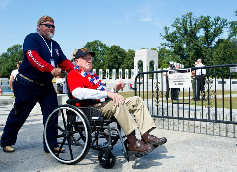 What Shutdown? WWII Vets Ignore Barricades To See Memorial : The Two-Way : NPR