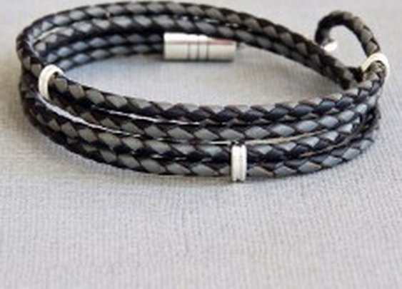 Duet - Double Wrap Braided Leather Bracelet with Sterling Silver