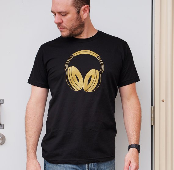 Gold Headphones men's black tshirt XL dj by blackbirdandpeacock
