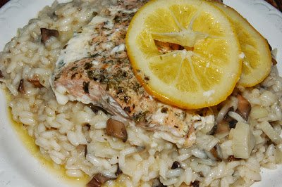 Mushroom Risotto with Baked Lemon Salmon ~ A Dash of Delish