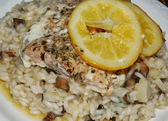 Mushroom Risotto with Baked Lemon Salmon ~ A Dash of Delish