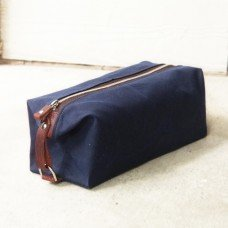 Men's Toiletry Bag, Waxed Cotton Canvas and Leather Dopp Kit