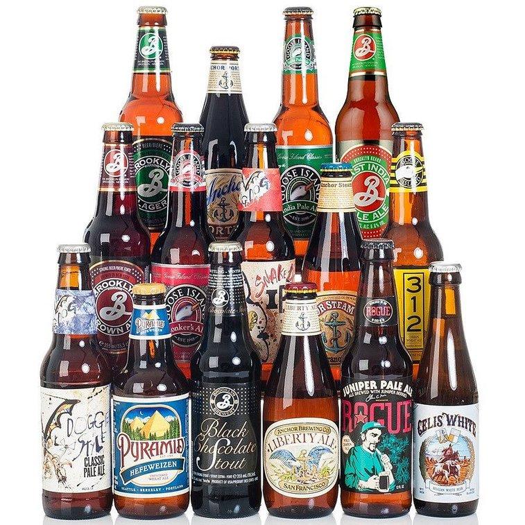 set of 15 american craft beers