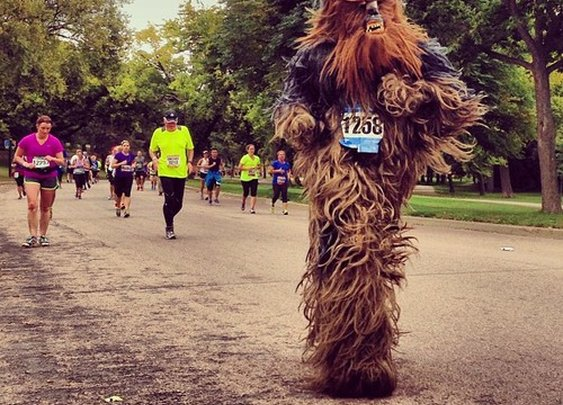 Ran the entire race in a Chewbacca suit!