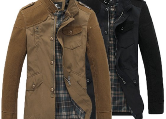 Men's Stand Up Collar Jacket with Elbow Patches