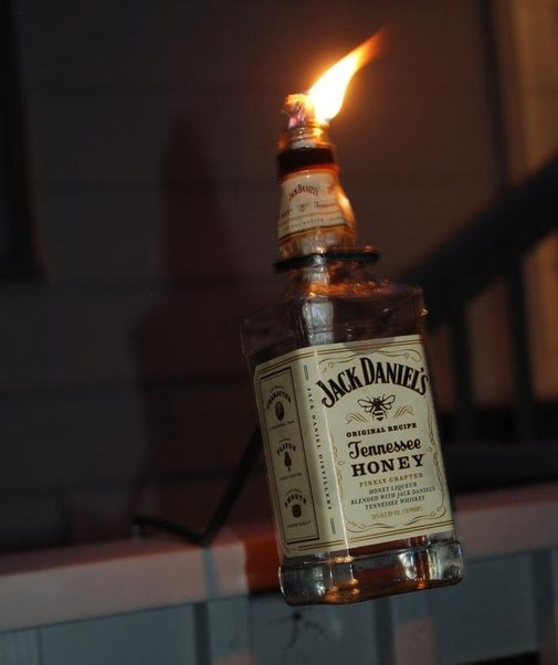 Make a Tiki Torch from a Bottle of Jack Daniels