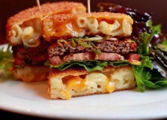 Burger Made with a Bun of Deep Fried Macaroni and Cheese