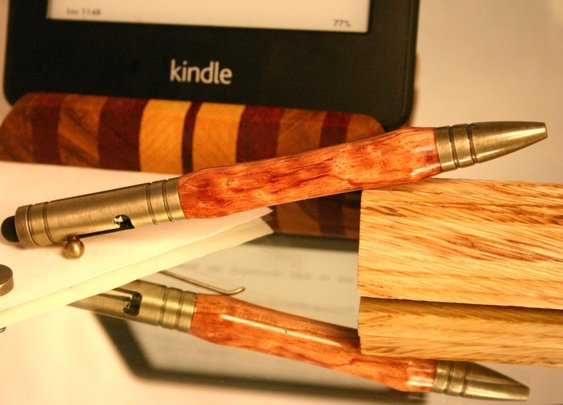 Stylus pen brushed brass bolt action bullet bubing by Hope & Grace Pens