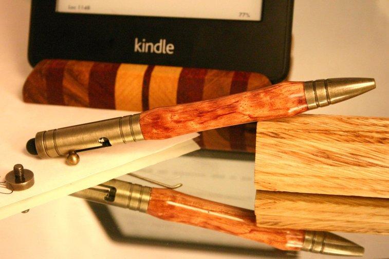 Stylus pen brushed brass bolt action bullet bubing by Hope & Grace Pens