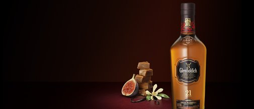 Glenfiddich 21 Year Old. The Most Awarded Single Malt Scotch Whisky.