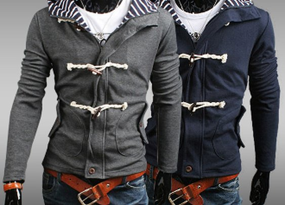 Men's Striped Hoodie Jacket with Horn Button