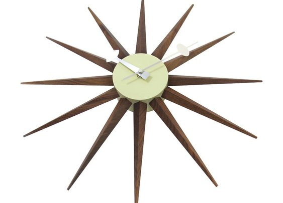 George Nelson Solid Walnut Sunburst Clock - Control Brand MCM - Wall Clocks at Hayneedle