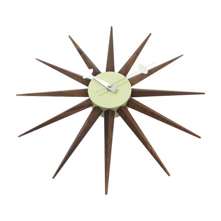 George Nelson Solid Walnut Sunburst Clock Control Brand Mcm Wall Clocks At Hayneedle Gentlemint