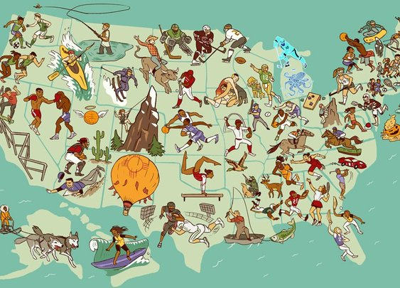 United Sports of America map: If each state could have only one sport, what would it be?