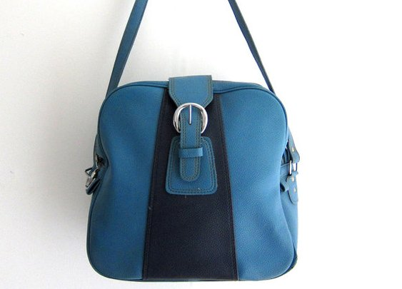 Vintage 1960s two tone blue vinyl airline carry on by evaelena
