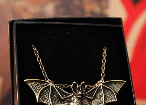 Handmade Punk Gothic Necklace, Gothic Vampire Necklace, Vampire Bat Necklace, Punk Rock Gothic Vampire