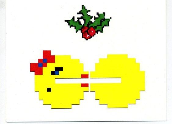8 bit Holiday cards set of 10 8bit retro by blackbirdandpeacock