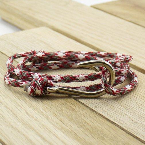 Silver Fish Hook Paracord Bracelet in Golden by DesignedTurning