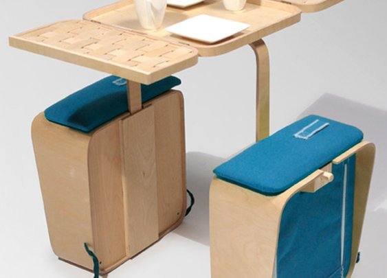 Relaxshacks.com: A foldable tiny house picnic table and chairs (you can carry on a bicycle?)