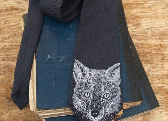 charcoal grey fox print wool tie