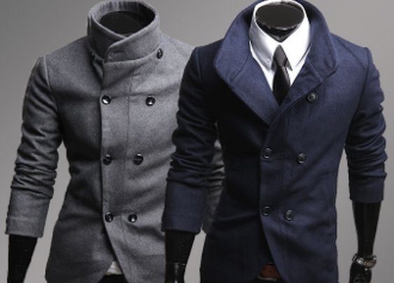 Men's High Collar Double Breasted Jacket