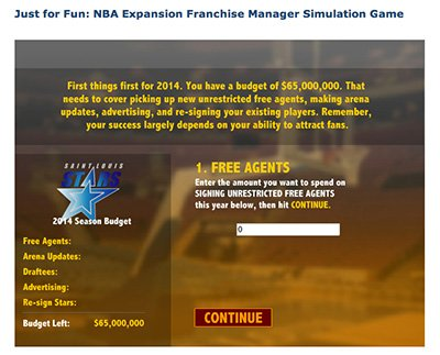 NBA Expansion Franchise Simulation Game
