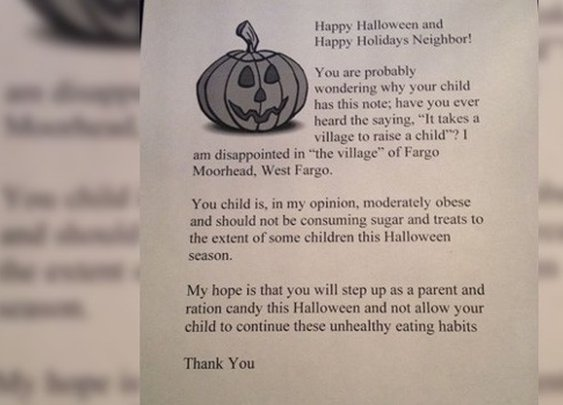 Woman Hands out Letter to Obese Trick-or-Treaters : 101 or Less