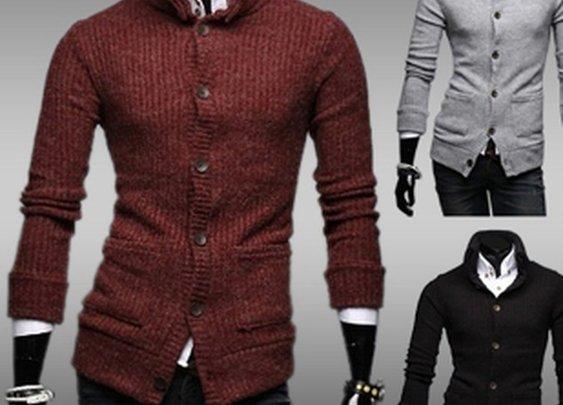 Men's High Collar Button Down Cardigan