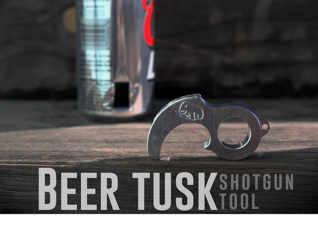 The Beer Tusk. The Tool that Shotguns a Beer Can Perfectly. by Raging Mammoth — Kickstarter