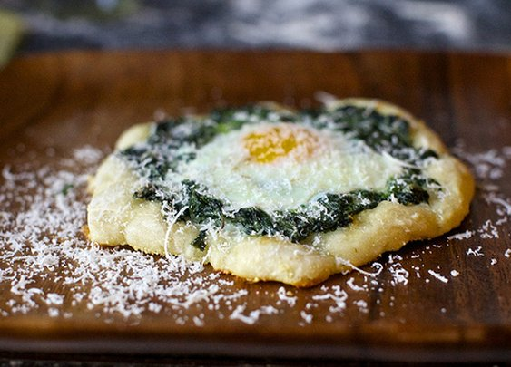 spinach and egg pizzettes | smitten kitchen