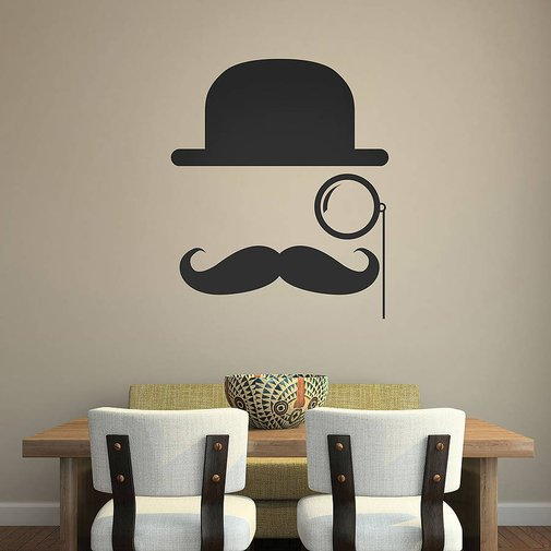 bowler hat moustache wall stickers