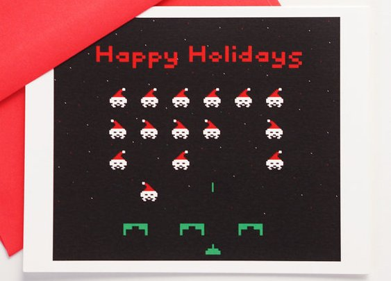 8 Bit Happy Holidays card set of 4 by blackbirdandpeacock on Etsy